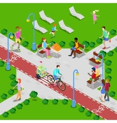 Isometric city park active people vector
