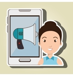 Woman smartphone and speaker isolated icon design vector