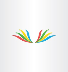 abstract colorful wings icon vector image vector image
