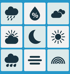 Air icons set collection of weather colors sun vector