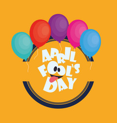 April fools day card colored balloons vector