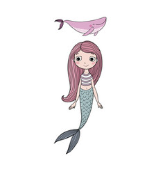 beautiful little mermaid and whale siren sea vector image vector image