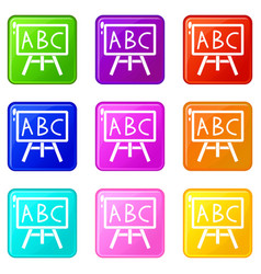 Chalkboard with the leters abc icons 9 set vector