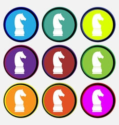 Chess knight icon sign Nine multi colored round vector image