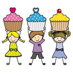 Children with some muffins vector image