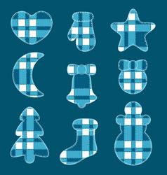 christmas of felt toys of blue tartan fabric vector image