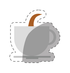 Coffee cup beverage hot cut line vector
