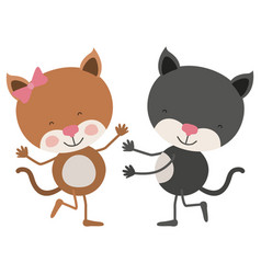Colorful caricature with couple of cats dancing vector