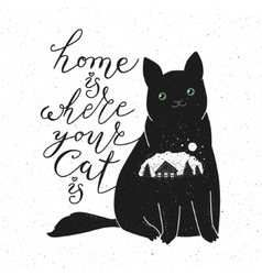 Cute cat character and quote vector image vector image