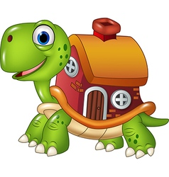 Cute turtle with shell house vector image vector image