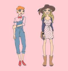 fashion look girl beautiful girl woman female vector image vector image