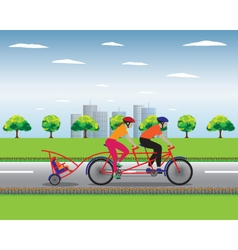 Father and mother biking with little son vector