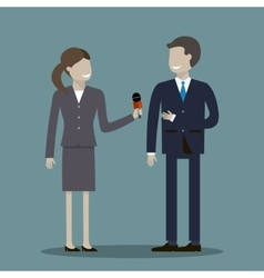 Female journalist interviewing businessman vector