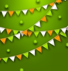Festive Flags with Clovers for Happy Saint vector image vector image