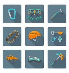 Flat style colored various alpinism tools icons vector