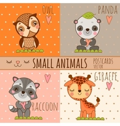 Four cute images of animals cartoon set vector image vector image