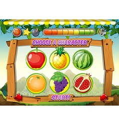 Game template with fresh fruits background vector