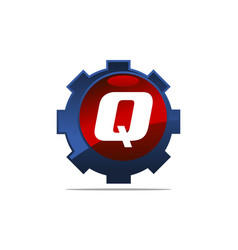 gear logo letter q vector image