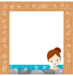 Girl relaxing in hot spring border vector
