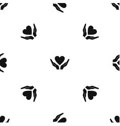 hands holding heart pattern seamless black vector image vector image