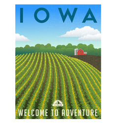 iowa united states retro travel poster vector image