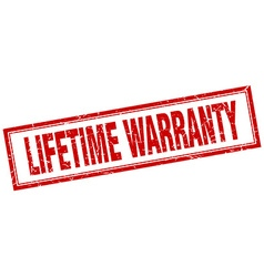 Lifetime warranty red square grunge stamp on white vector