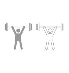 Man uping weight icon grey set vector