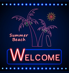 Neon shining beach party with palm tree and sun vector