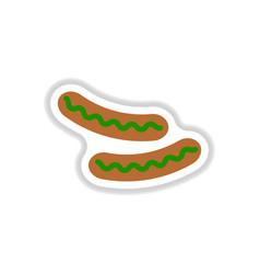 Sausage grilled sticker vector