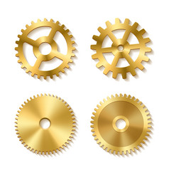Set of realistic golden gears vector