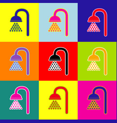 shower sign pop-art style colorful icons vector image