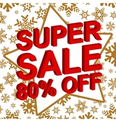 Winter sale poster with super sale 80 percent off vector