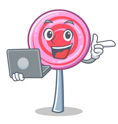 with laptop cute lollipop character cartoon vector image vector image
