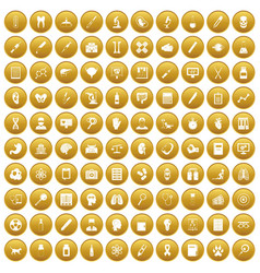 100 diagnostic icons set gold vector