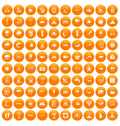 100 diving icons set orange vector