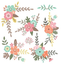 Isolated floral bouquets vector