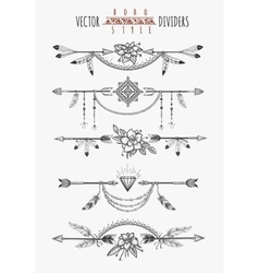 Arrow feather page dividers vector image