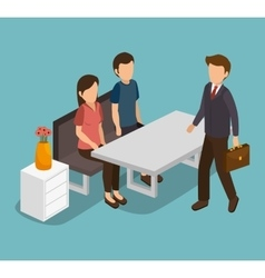 Group of businesspeople gathered vector