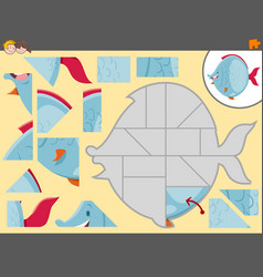 Jigsaw puzzle activity game vector