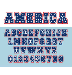 Alphabet font template letters and numbers usa vector
