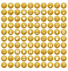 100 diagnostic icons set gold vector
