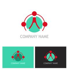 connect teamwork technology logo vector image