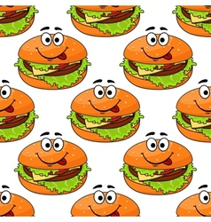 Cartoon cheeseburger seamless pattern vector
