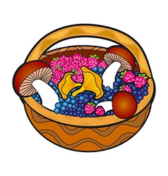 Basket full of mushrooms with blueberries and fern vector