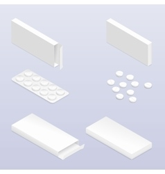 Tablets in blister and packaging detailed vector