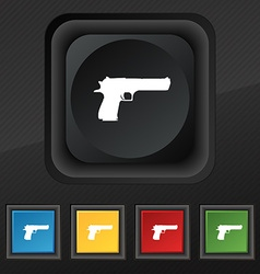 Gun icon symbol set of five colorful stylish vector