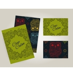 Set of brochures in doodle ornamental style with vector