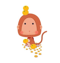 Lucky monkey on white background vector