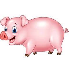 Cartoon funny pig isolated on white background vector