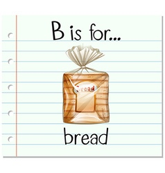 Flashcard letter b is for bread vector